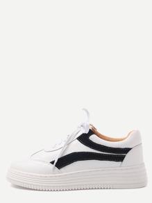 Zapatillas de deporte de cuero sintético con cordón - blanco y negro