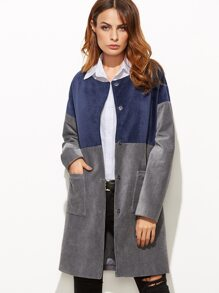 Contrast Collarless Hidden Button Pocket Front Cord Coat