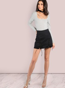 Double Strap Mini Skirt BLACK