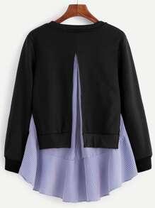 Black Striped Ruffle Detail 2 In 1 Sweatshirt
