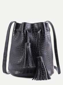 Black Crocodile PU Tassel Drawstring Bucket Bag