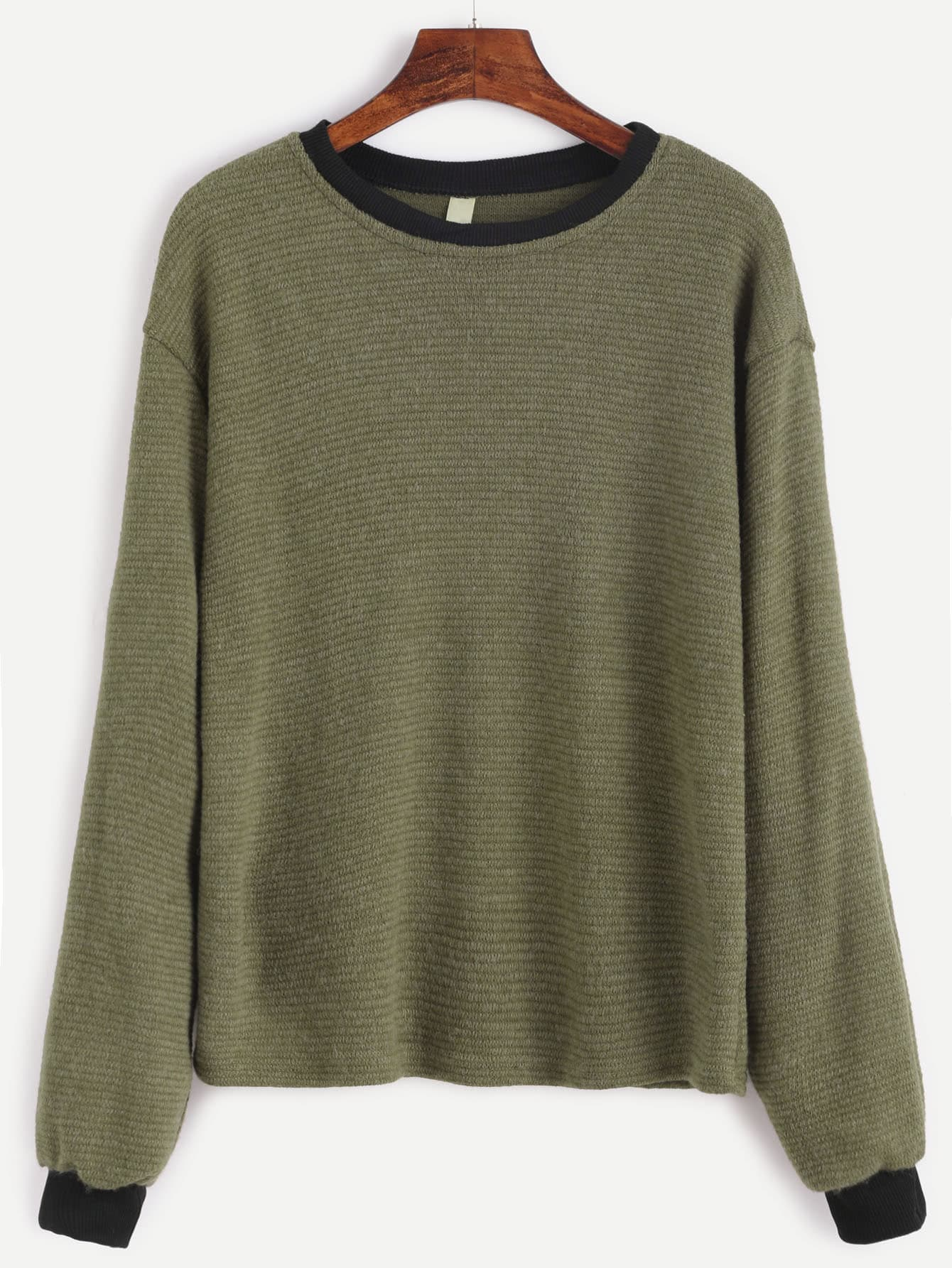 Contrast Trim Drop Shoulder Ribbed Sweater sweater161006101
