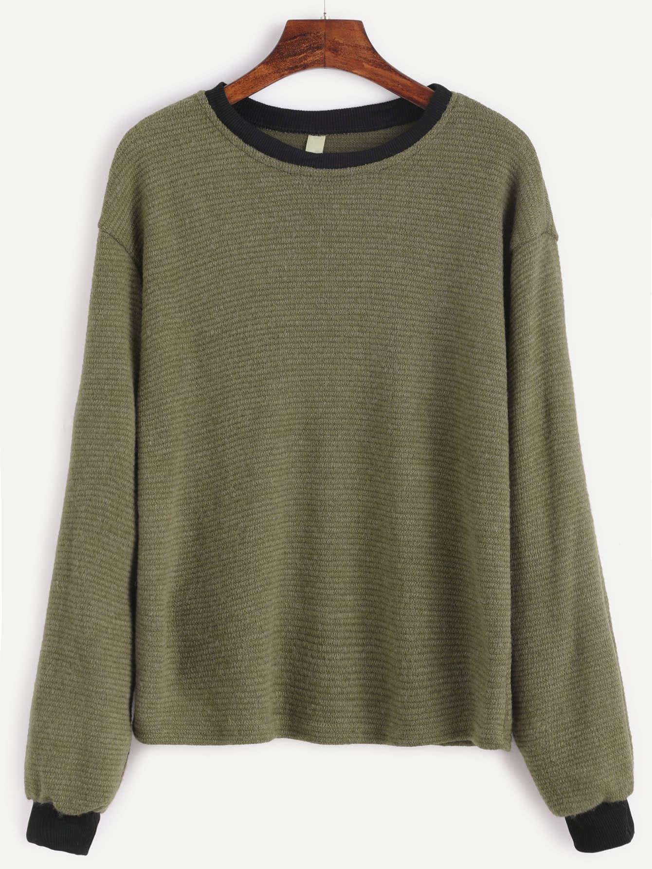 Contrast Trim Drop Shoulder Ribbed Sweater sweater161006101