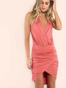 Pink Surplice Front Ruched Wrap Dress