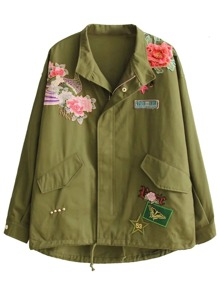 Army Green Embroidered Patch Coat With Drawstring Detail