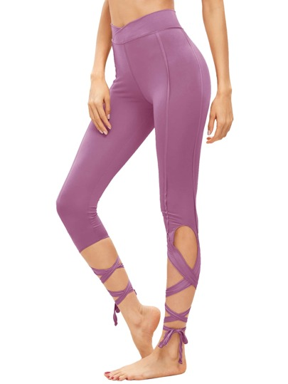 Hollow Tie Skinny Leggings
