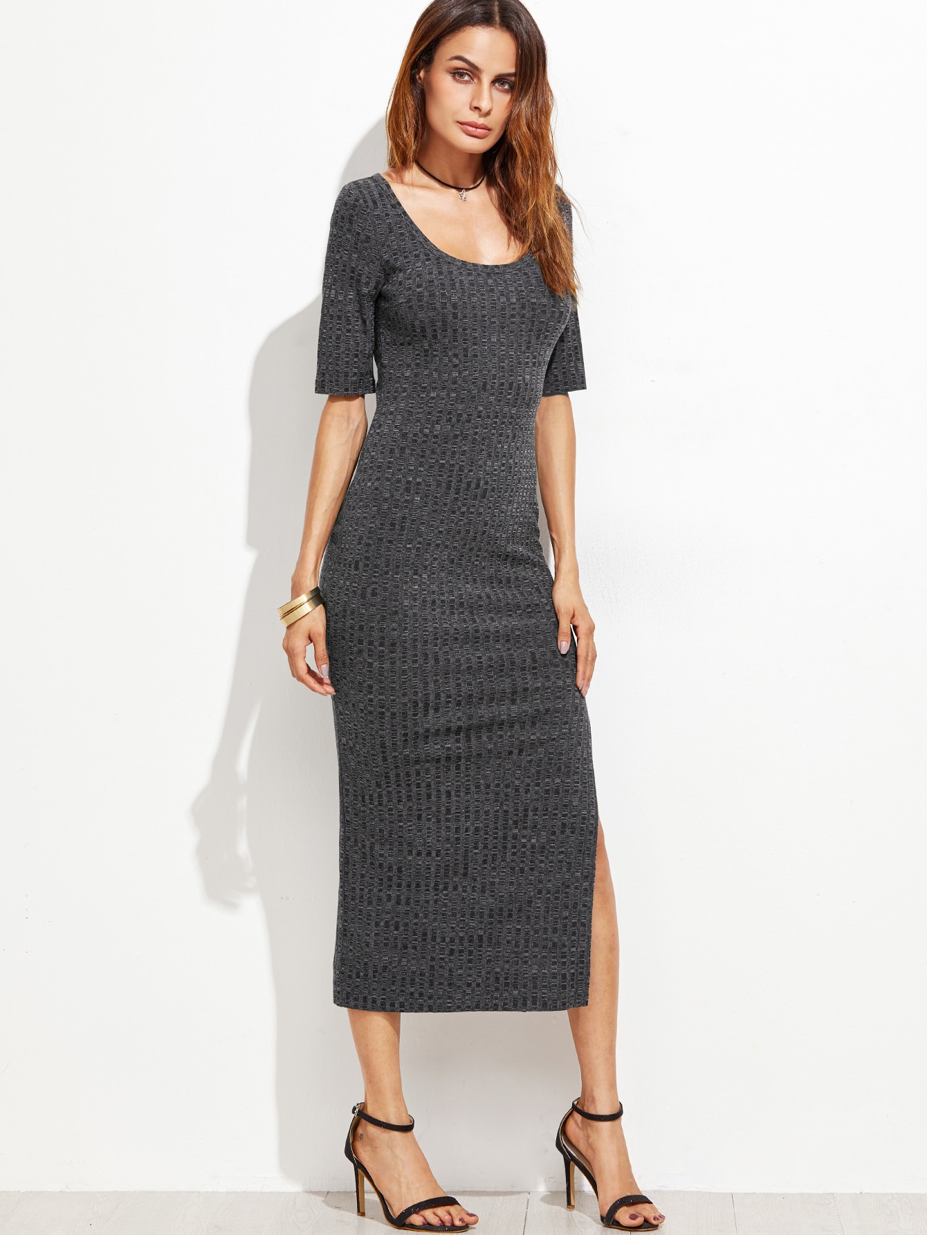 Grey Scoop Neck Side Slit Ribbed Dress dress161013707