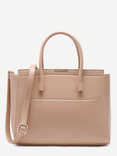 Apricot Faux Leather Handbag With Strap