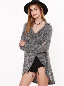 Black Marled Knit Overlap Coat