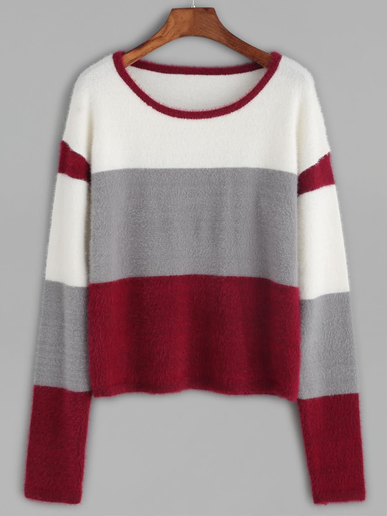 Buy Color Block Fluffy Sweater