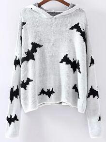 Maglione Con Cappuccio Disegno Di Pipistrello - Bianco