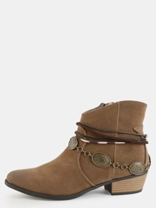 Coin Anklet Western Booties MOSS