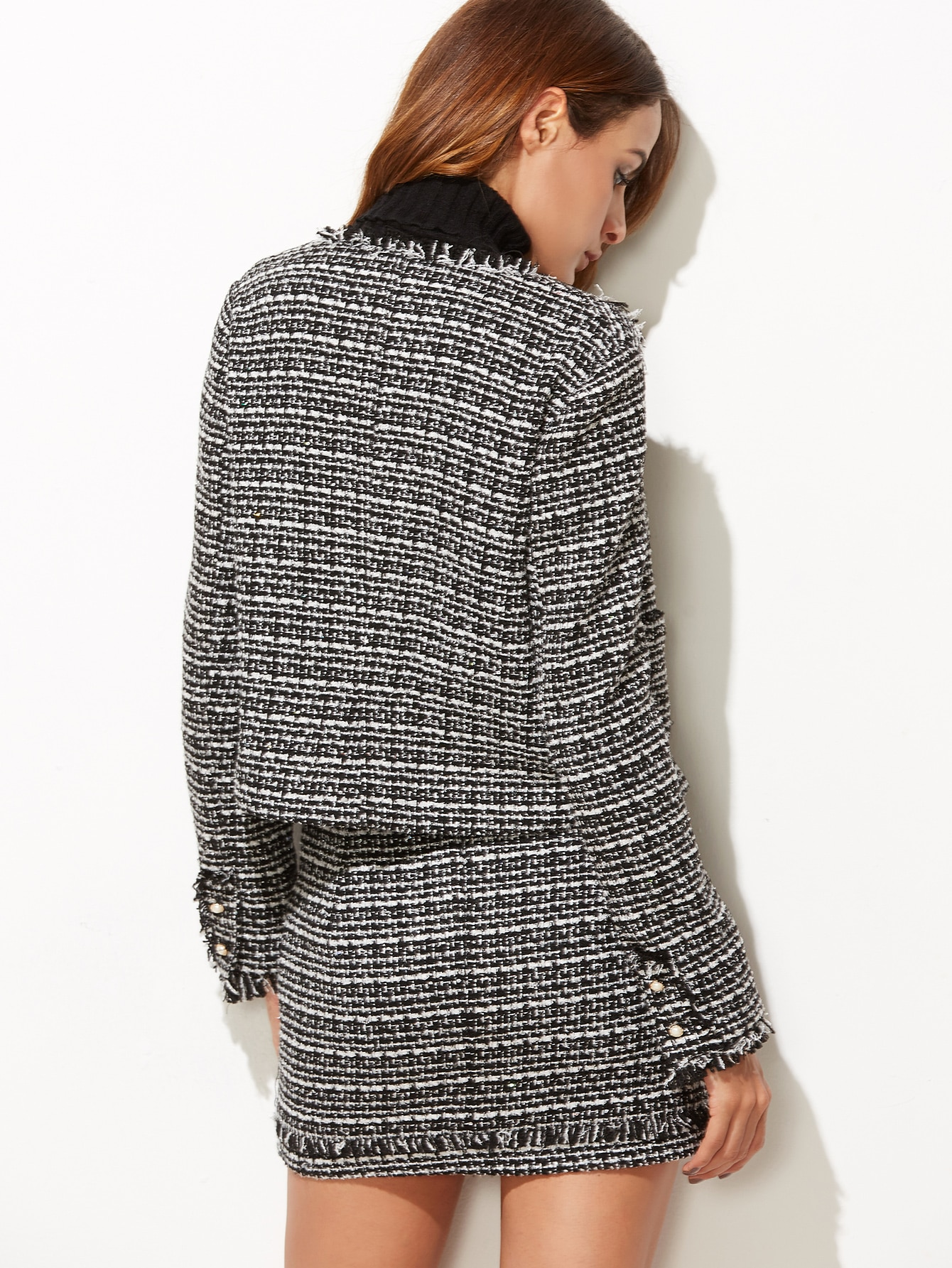 Find and save ideas about Tweed skirt on Pinterest. | See more ideas about Tweed, Winter work outfits and Work chic. tweed skirt, black top, white fur scarf add leather jacket or shirt add silver clutch or purse and black hat Find this Pin and more on My Style by Denise Lawrenz.