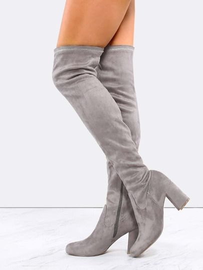 Faux Suede Chunky Heel Boots GREY
