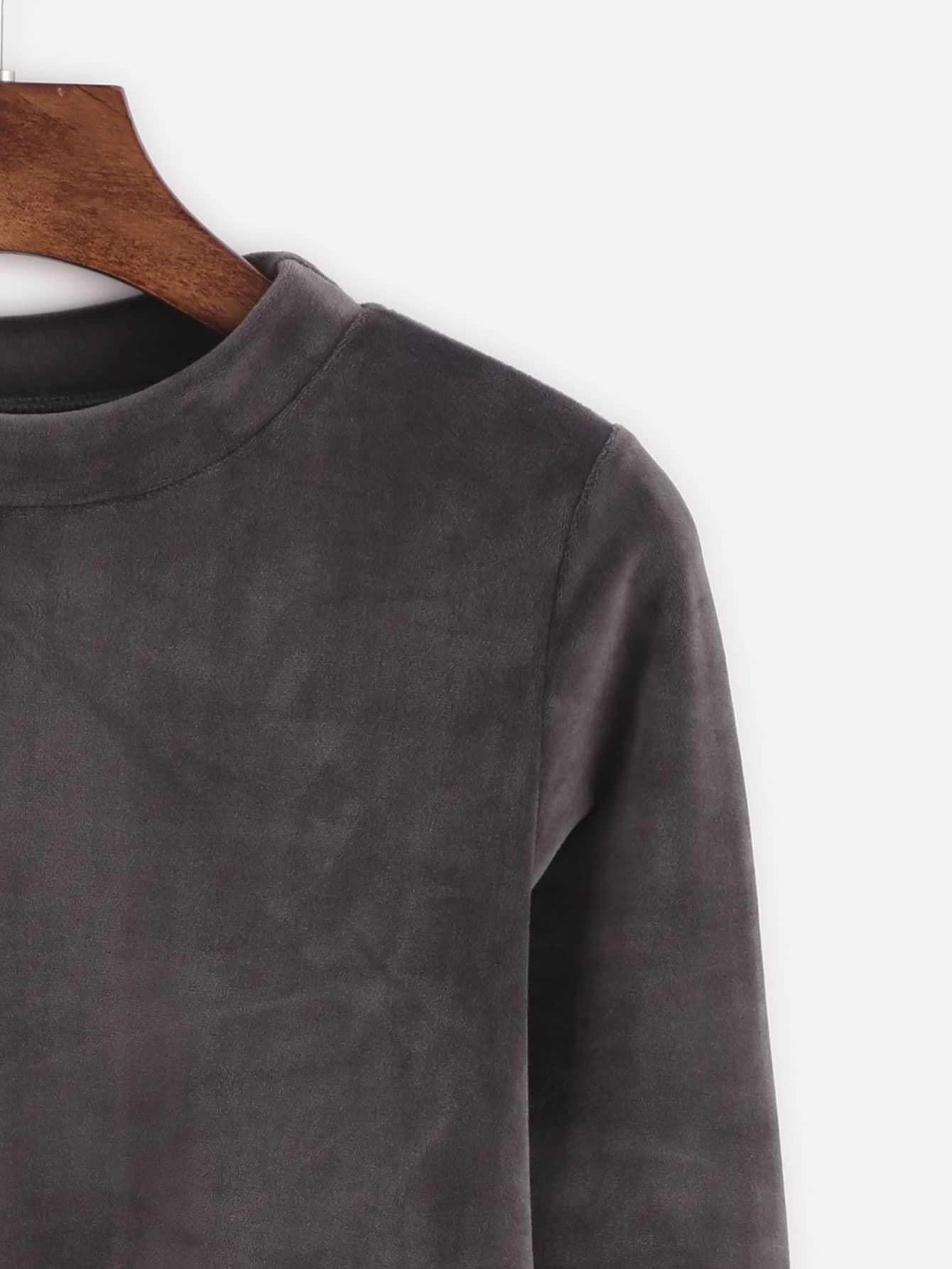 Dark grey mock neck velvet t shirt shein sheinside for Mock crew neck shirts