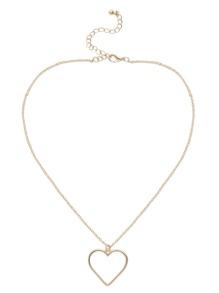 Collier avec pendentif forme en cœur creux - doré