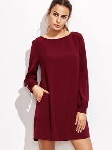 Burgundy Bishop Sleeve Swing Dress