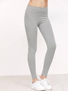 Grey Vertical Striped Leggings