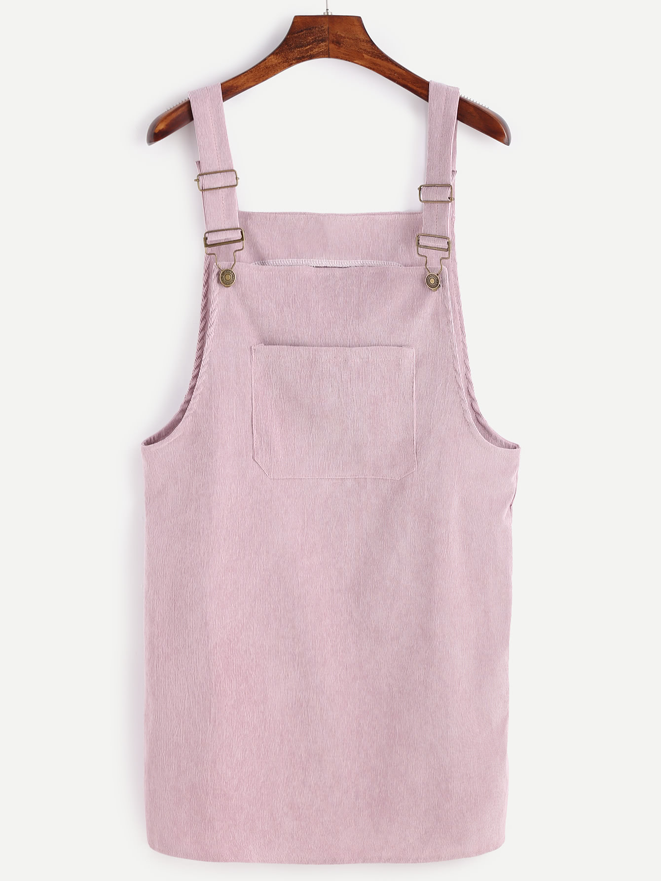 Pink Corduroy Overall Dress With Pocket dress161021102