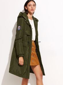 Olive Green Drawstring Parka Coat With Hood