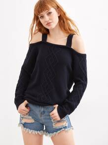 Navy Cable Knit Cold Shoulder Sweater