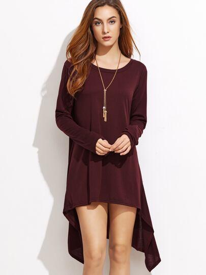 فستان نمط تي شيرت عنابي بأطوال مختلفة