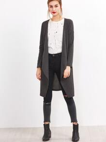 Dark Grey Drape Front Coat