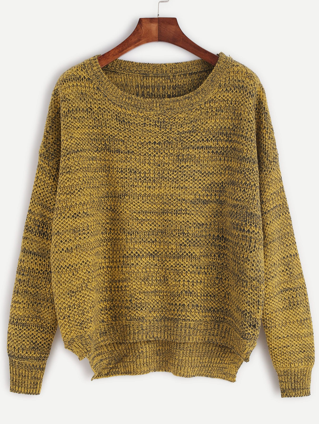 Yellow Marled Knit Side Slit SweaterYellow Marled Knit Side Slit Sweater<br><br>color: Yellow<br>size: one-size