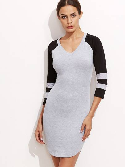 Heather Grey Contrast Striped Sleeve Sheath Dress