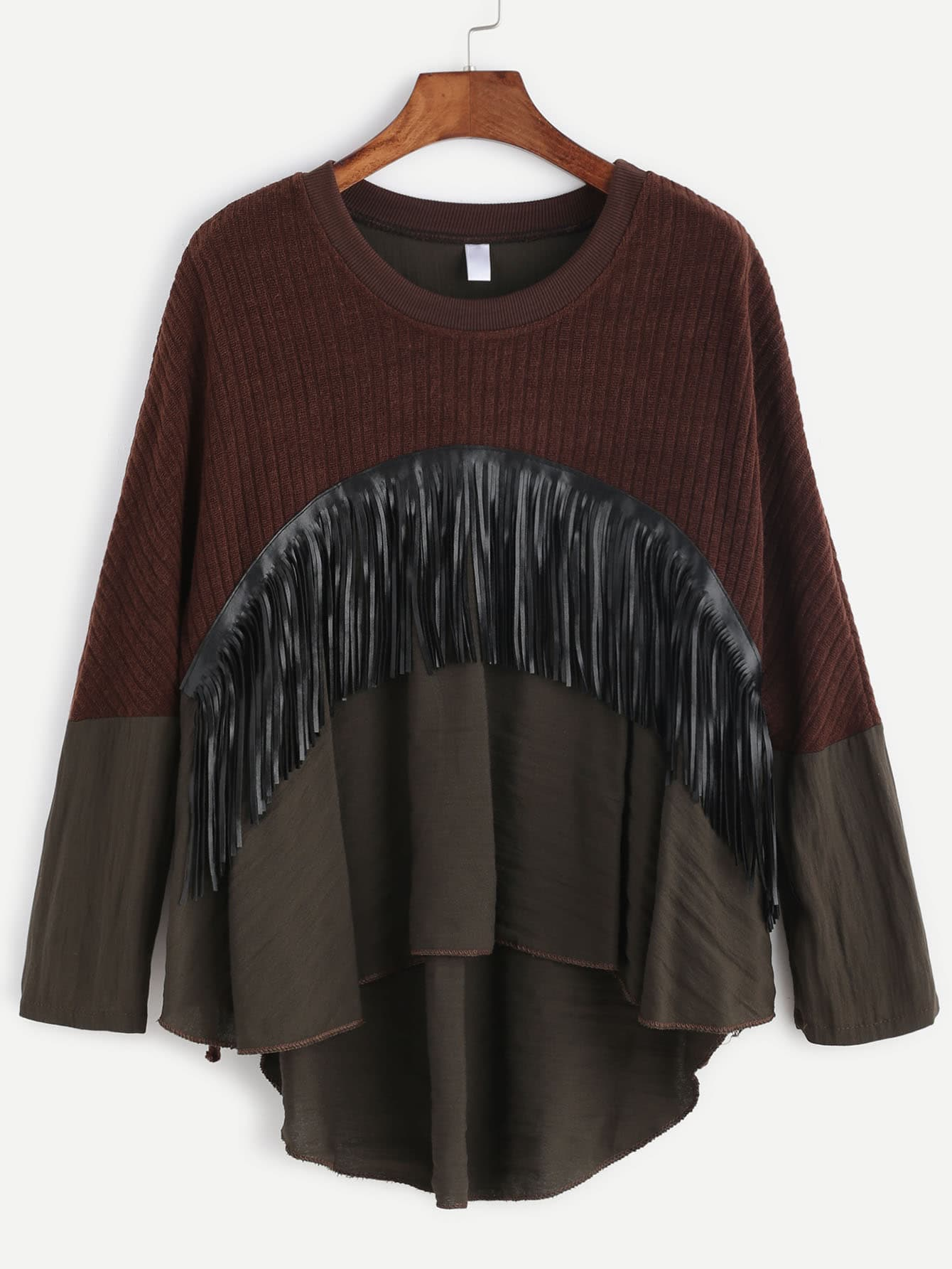 Фото Contrast Hem Fringe Trim High Low T-shirt. Купить с доставкой