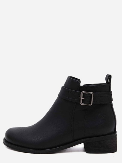 Black Distressed Buckle Strap Ankle Booties