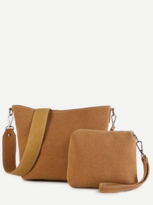 Brown and Yellow Faux Leather Tote Bag Set With Wide Strap