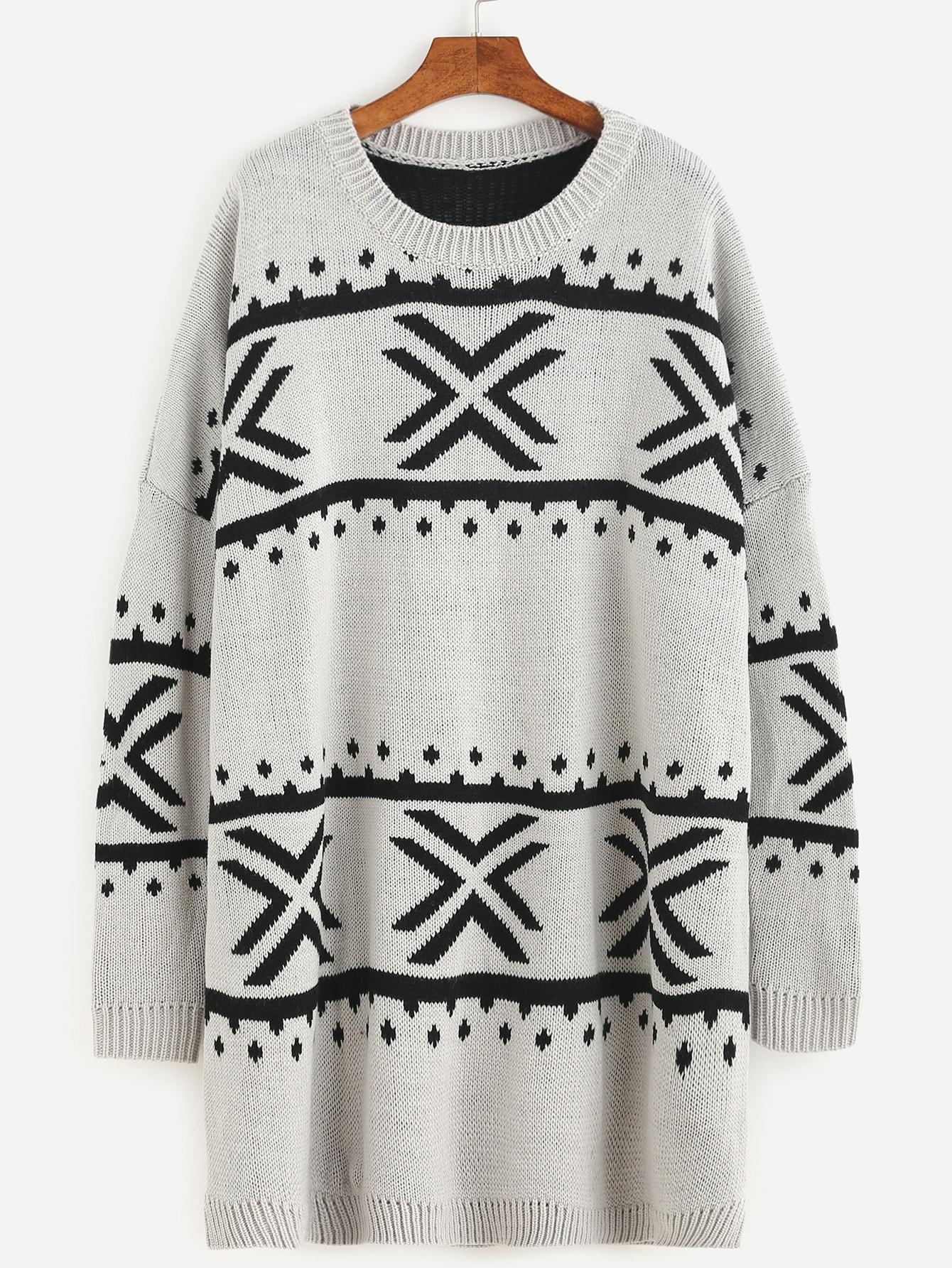 SheIn Grey Geo Pattern Drop Shoulder Longline Sweater