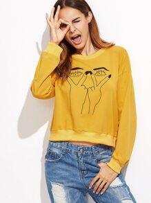 Yellow Gesture Print Drop Shoulder Sweatshirt