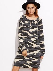 Vestido holgado con estampado de camo y abertura - albaricoque