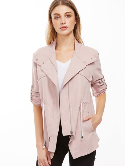 Pink Hidden Zip Drawstring Waist Roll Sleeve Jacket