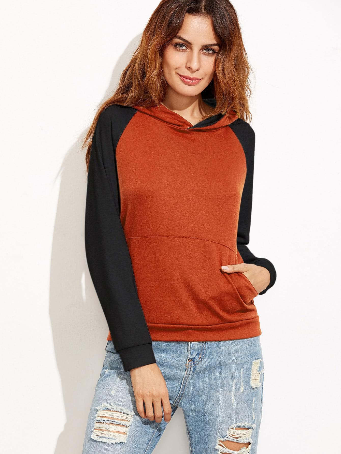 Contrast Raglan Sleeve Hooded Sweatshirt sweatshirt160908101