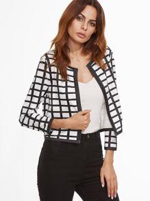 White Grid Collarless Crop Jacket