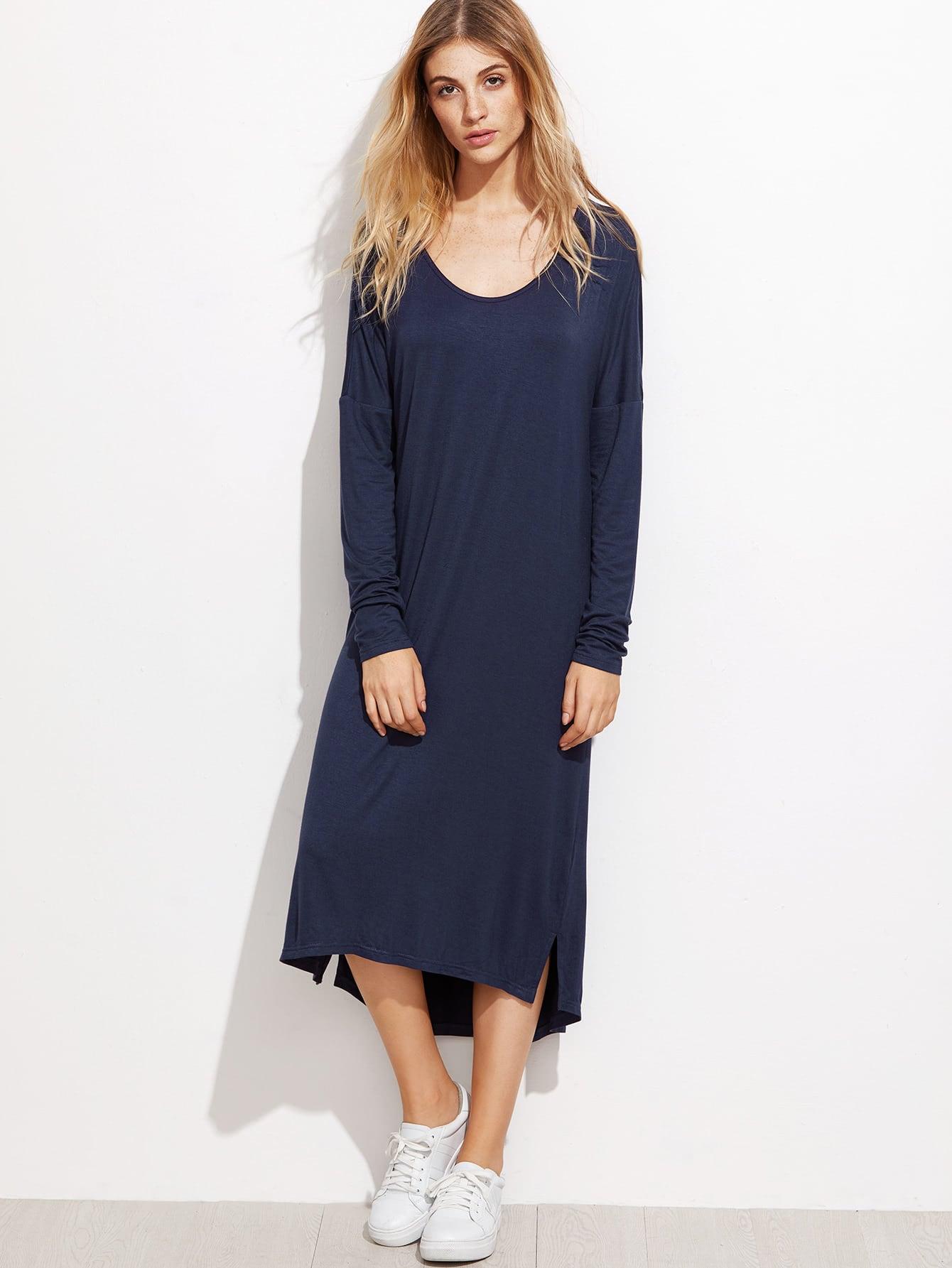 Drop Shoulder Cut And Sew Split Dress