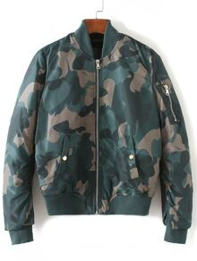 Multicolor Zipper Up Camouflage Jacket