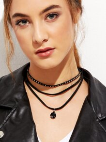 Black Layered Studded Gemstone Pendant Choker Necklace