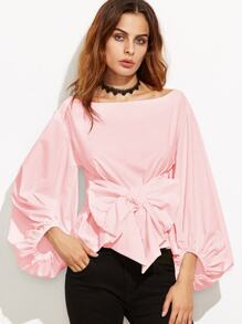 Pink Boat Neck Lantern Sleeve Bowknot Blouse
