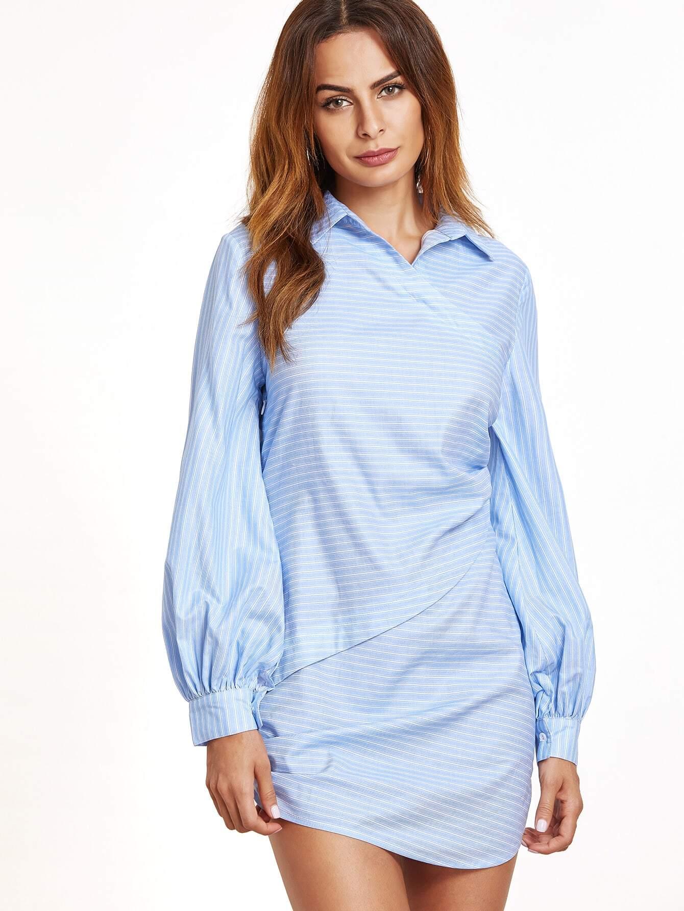 Фото Blue Striped Lantern Sleeve Ruched Asymmetric Dress. Купить с доставкой