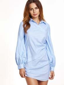 Blue Striped Lantern Sleeve Ruched Asymmetric Dress