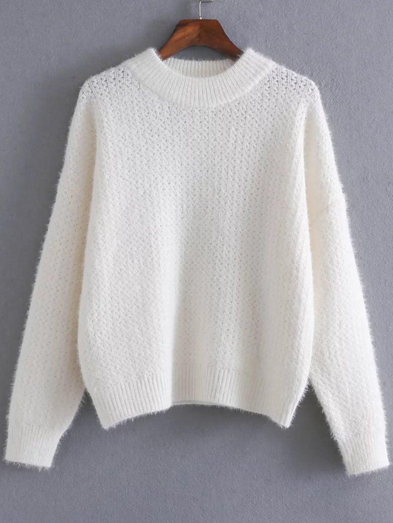 White Ribbed Trim Crew Neck Sweater sweater161022222