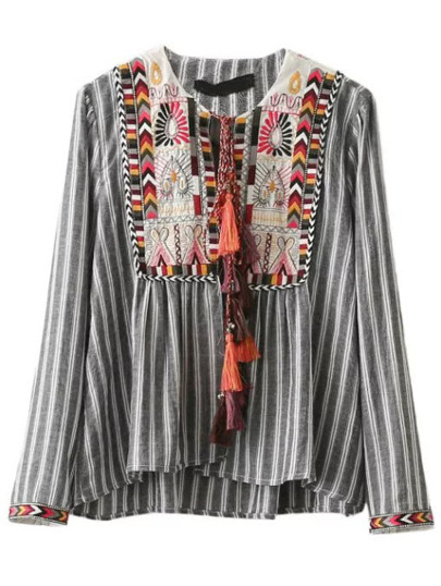 Embroidered Yoke Tie Front Vertical Striped Blouse