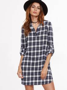 Navy And White Plaid Ross Sleeve Shirt Dress