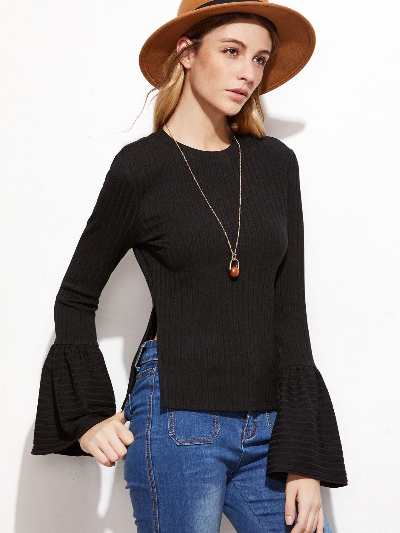 Black Ribbed Split Side Bell Sleeve T-shirt tee161027701