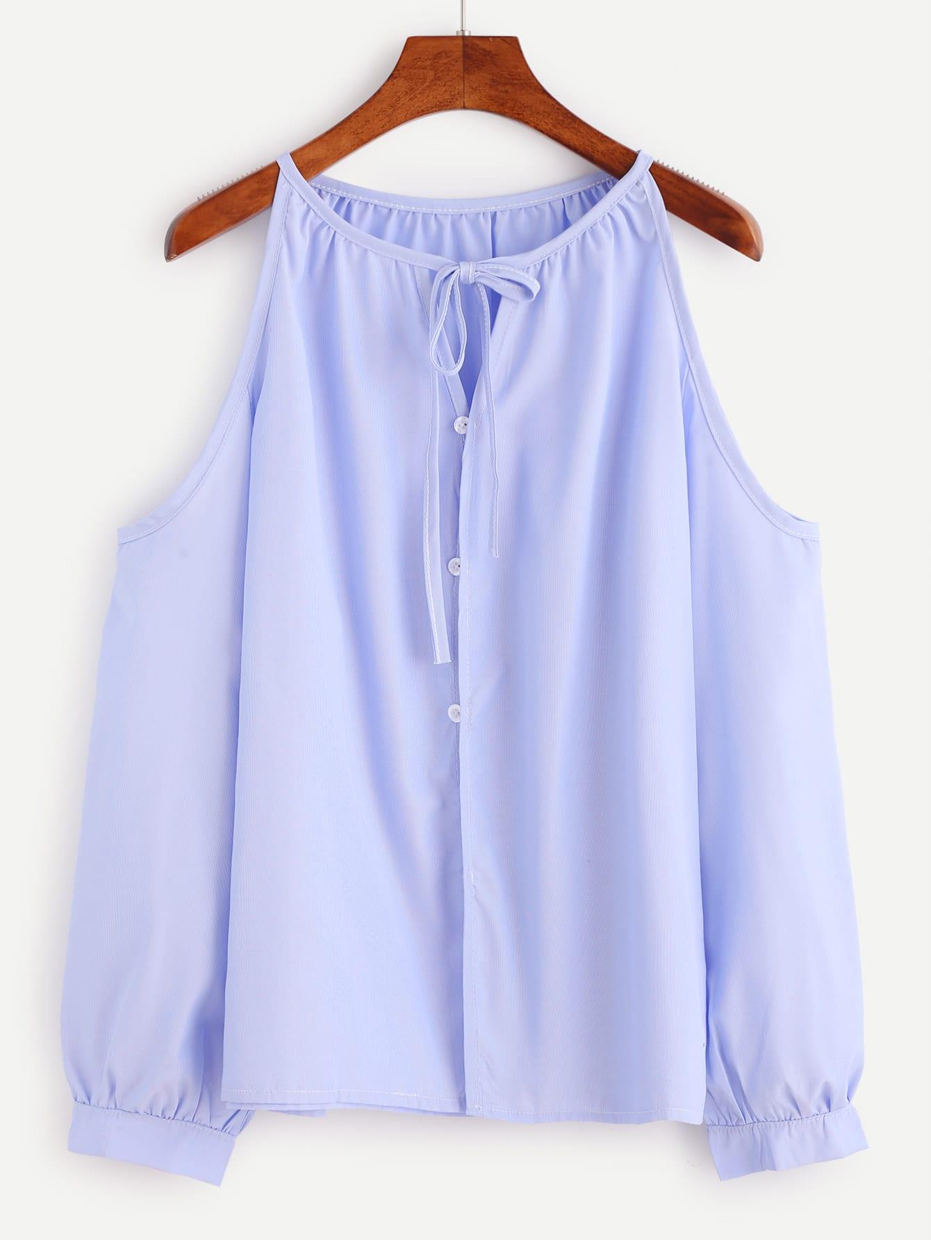 Blue Cold Shoulder Tie Neck Button TopBlue Cold Shoulder Tie Neck Button Top<br><br>color: Blue<br>size: L,M,S,XL