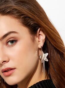 Silver Plated Star Straight Bar Drop Earrings